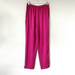 Eileen Fisher 100% Silk Pants Purple Pink Magenta
